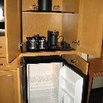 Coffee service & mini-fridge