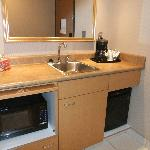 Kitchenette area at entrance of room