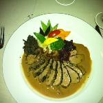Magret de Canard au Café, Sauce au Cognac Duck breast sautéed with a Coffee Crust, Finished with
