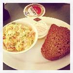 Salmon and scrambled eggs