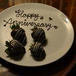 I mentioned it was our Anniversary, and we found these in our room on arrival. Nice touch!