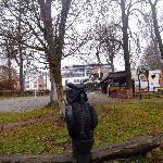Schöner Weg am Schrmützelsee entlang u.im Hintergrund das Hotel Esplanade-Ende Nov.`12-
