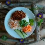 Rice Bowl with Spicy Hoisin Tofu and Lemon Garlic Shrimp