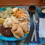 great Belizean breakfast prepared by Josephine