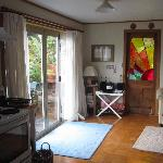 Wairua Apartment Front Door/Main Living Room/French Doors opens to Patio