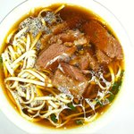 Beef-Noodle Soup with thick soft beef and thick-wide noodle