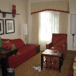 Living Room Area of King Room (TV swiveled, between living room & bedroom)