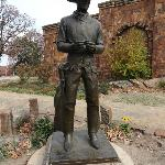 Outdoor cowboy sculpture at the front of the museum