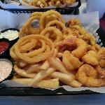 Fried Shrimp, Friend Clam Strips, Onion rings and French fries
