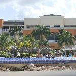 View of resort from beach