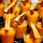 catered tomato soup and grilled cheese