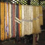 A rack of dyed silk thread