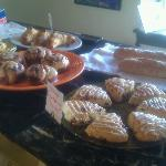 Freshly baked scones, cinnamon buns and muffins.