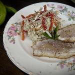 Summer appetizer - seared red mullet and cabbage salad.