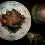 Smoked Game hen with spring veggies - deboned so easy to eat and cooked perfectly - still juicy.
