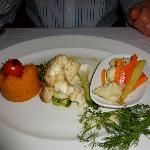 Grouper with mashed pumpkin