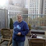 My mom on balcony