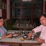 Mr and Mrs Farukh Shaikh enjoing  Aamras at  THAKER.