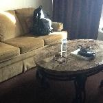 sofa, granite coffee table