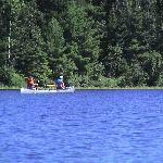Canoeing to the BWCA right from our dock.