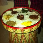 mixed curries with Injera - delicious