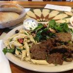 beef shwarma, pasta salad and spinach salad. yumm