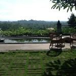 View from breakfast dining area to Borobudur temple