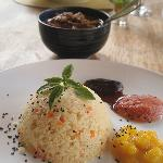 Beef stew in yogurt sauce, cous cous and fruit sauces - heavenly!