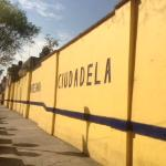 """The exterior wall of the market facing the public park of the same name, """"The Citadel."""""""