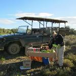 Sundowner drinks and nibbles on a game drive
