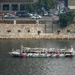View of Nile River boat from our balcony