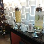 Lobby water dispensers with fresh fruit - fruit changes daily