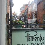 Lovely view onto Steep Hill from the front window at Pimento Tea Room
