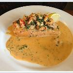 Salmon fillet with a delicious prawn and shrimp garnish/sauce