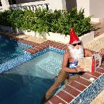 reading in the spa - roaming gnome!!