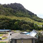 Standing on the balcony. You can see the Mount and the hot pools across the road.