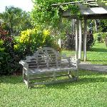 A garden bench on the Harmony side of the complex