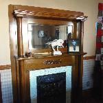 Fireplace mantle in billiard room