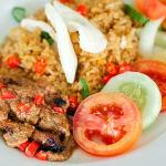 Javanese Fried Rice along with chicken satay and peanut paste.