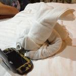towel with my psp vita, thank you elan hotel housekeeping for making me smile