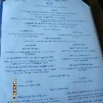 Example of a menu
