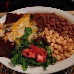 Los Colores - 3 blue corn tortilla enchiladas, posole, beans, salsa.