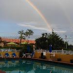 Deerfield Beach double rainbow over the pool bar