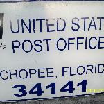 Sign indicating Post Office location and Zip code