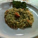 risotto con capesante, fagiolini e pesto