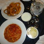 My dinner: pasta with marinara sauce and onion rings