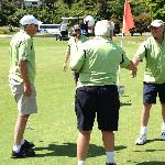 Shaking hands at the 18th - what a lovely golf course!