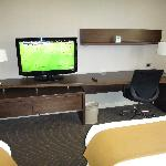 TV and table set in the room