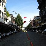 View of the Street with Many Street Side Cafes