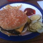 Ground Round with American, Onions and Pickles